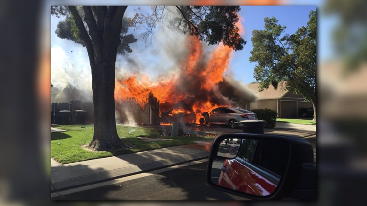According to the Modesto Fire Department, crews were initially called to the home just after 4:30 p.m. for a reported car fire.