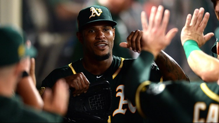 Marcus Semien homered twice, Edwin Jackson pitched three-hit ball into the eighth inning and the Oakland Athletics beat the Los Angeles Angels 7-0 on Saturday night.