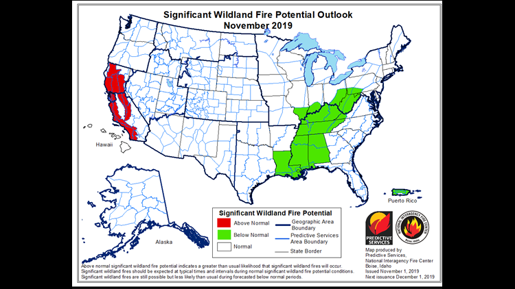Wildfire Potential for November 2019
