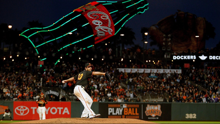 Madison Bumgarner pitched six strong innings, and Austin Slater and Hunter Pence drove in runs as the San Francisco Giants beat Colorado 3-0 Saturday night and knocked the Rockies out of first place in the National League West.
