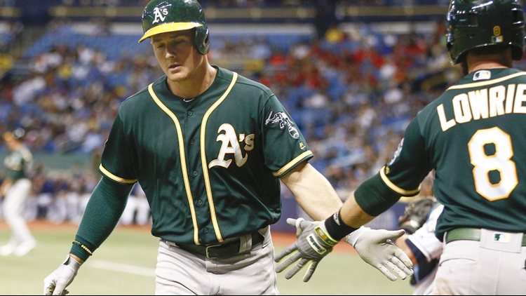 Jake Bauers hit a three-run homer off Jeurys Familia in the eighth inning to help the Tampa Bay Rays set back the playoff-chasing Oakland Athletics with a 7-5 win Saturday night.