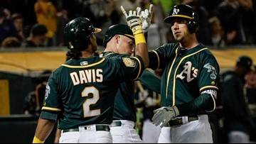 Marcus Semien has 3 and 5 RBIs, A's pound Angels 21-3