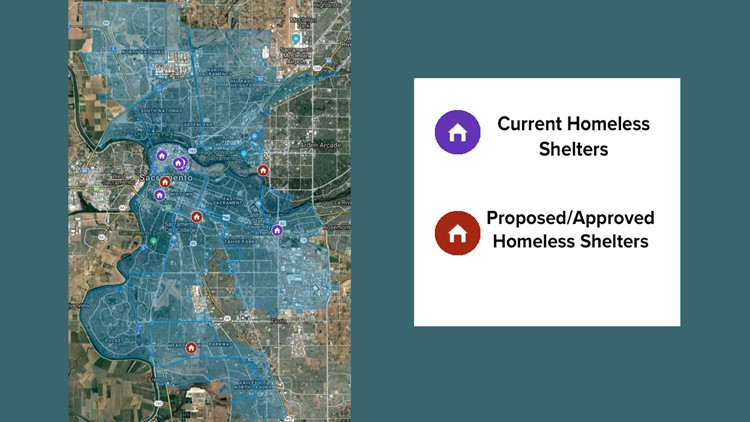 Sacramento Homeless Shelter map