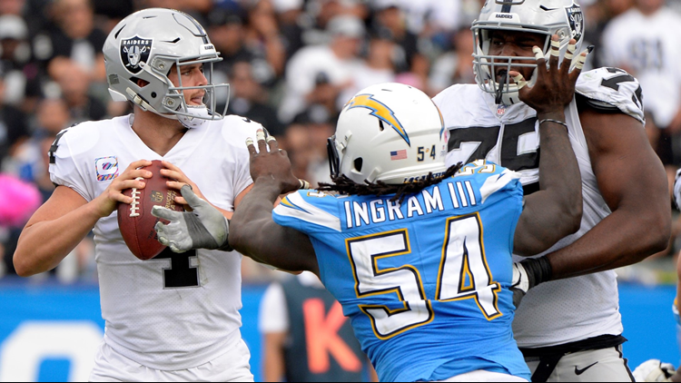 The Chargers' defense had three sacks and forced two turnovers which resulted in 13 points. Oakland's Marshawn Lynch came into the game fourth in the league in rushing but was held to 31 yards on nine carries.
