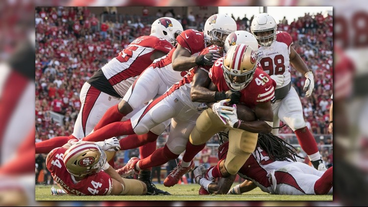 Josh Rosen threw a 75-yard touchdown pass to fellow rookie Christian Kirk on Arizona's first play from scrimmage and the Cardinals used five takeaways to get their first win by beating the San Francisco 49ers 28-18 on Sunday.