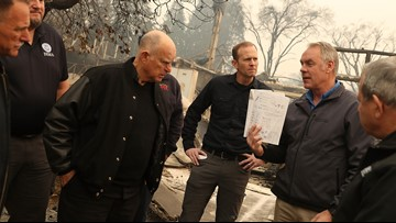 Gov. Brown visits Camp Fire while President Trump praises firefighters in California