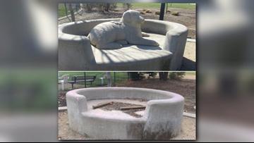 Dog sculpture stolen from Roseville park
