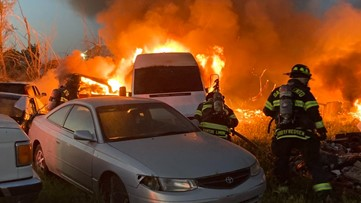 Video: Multiple cars catch fire at Sacramento tow yard, fire officials say