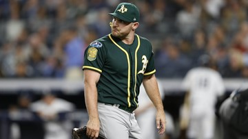 Hendricks, Dull agree with A's; Fiers, Gearrin, Graveman cut