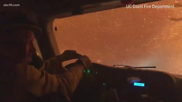'Heart stopping'   UC Davis firetruck drives through firestorm on way to combat Tamarack Fire