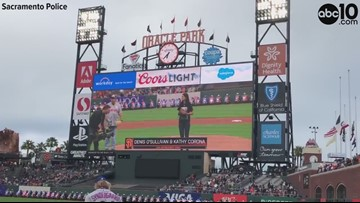 Officers honored during Giants baseball game