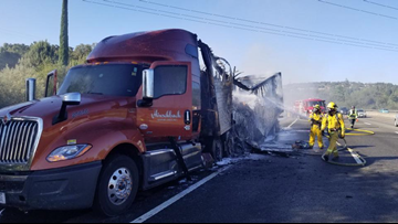 Semi catches fire, snarls traffic on WB I-80 in Placer County