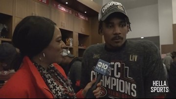 San Francisco 49ers celebrate NFC Championship | Ahkello Witherspoon
