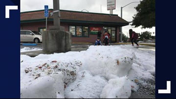 Did it hail or snow in the Central Valley? Need to know