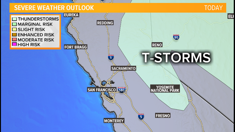 Thunderstorm threat possible for Sierra, foothills