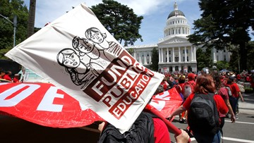 Teachers rally as California lawmakers limit charter schools