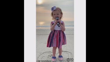 2-year-old Amelia sings God Bless America for the 4th of July
