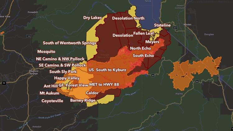 Interactive Map: Caldor Fire evacuations and fire perimeter