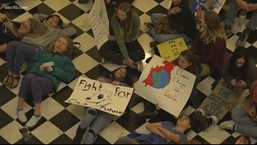 California teenagers lead climate protest at State Capitol in Sacramento