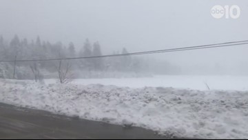 Lake Putt covered in snow on snowy I-80 commute | RAW