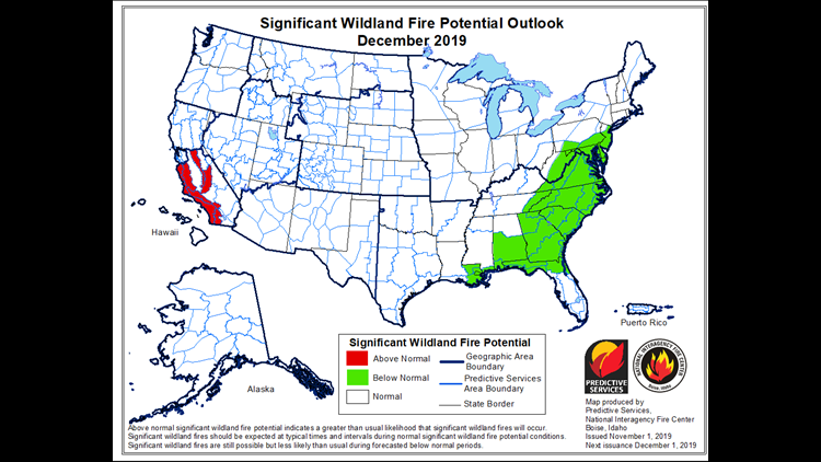 Wildfire Potential for December 2019