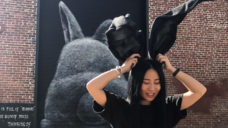 Artist Lin Fei Fei brings new mural 'Not Your Bunny' to Downtown Sacramento