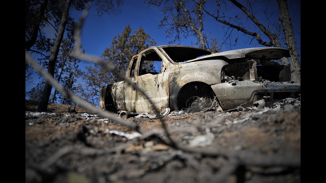 pickup truck ran off of a dirt road near Igo, Calif. on Sept. 27, 2020 during the Zogg Fire.