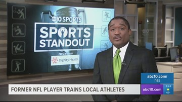 Former NFL star training local football players, celebrating scholarship athletes