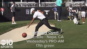 Warriors star Stephen Curry gets buckets on the golf course with Phil Mickelson