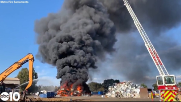 Fire breaks out at recycling facility in Rancho Cordova