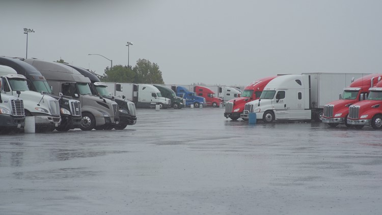 Truckers left stranded as rain and snow continue to fall