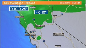 Scattered rain showers possible late Wednesday into Thursday