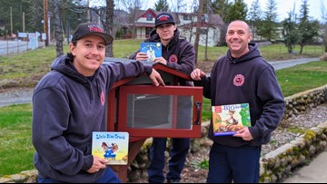 El Dorado County Firefighters build little free library in Placerville to promote literacy