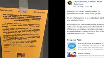 Roseville Police; Misleading 'Curb Painting' fliers making the rounds