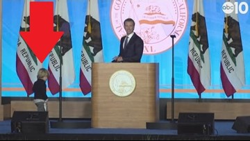 Gavin Newsom's son walks onstage during inaugural address, steals the show