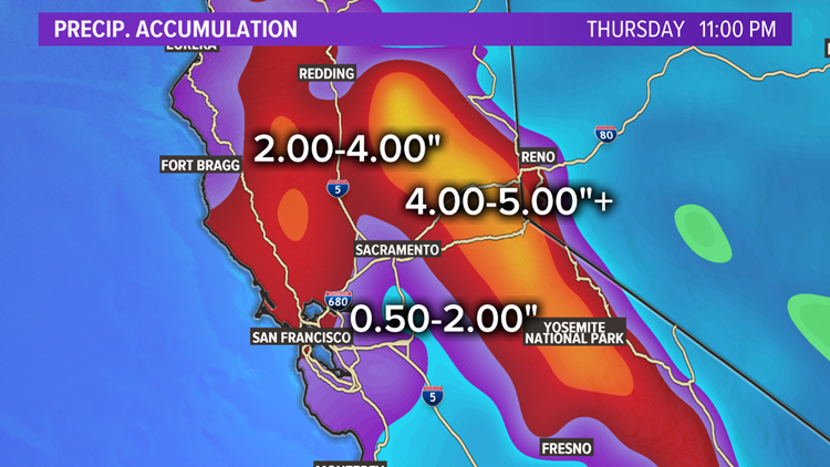 Incoming rain will add inches of water to California and rivers will rise quickly