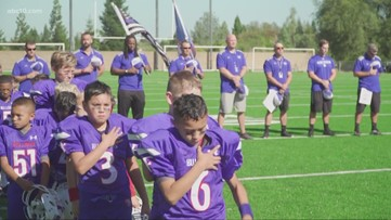 Watch how Folsom junior football league honored fallen El Dorado County Sheriff's Deputy Brian Ishmael before playoffs