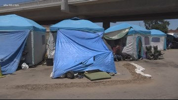 Homeless at Modesto's tent city trying to survive sizzling temperatures