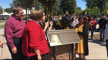 Dolores Huerta Plaza officially unveiled at San Joaquin Delta College