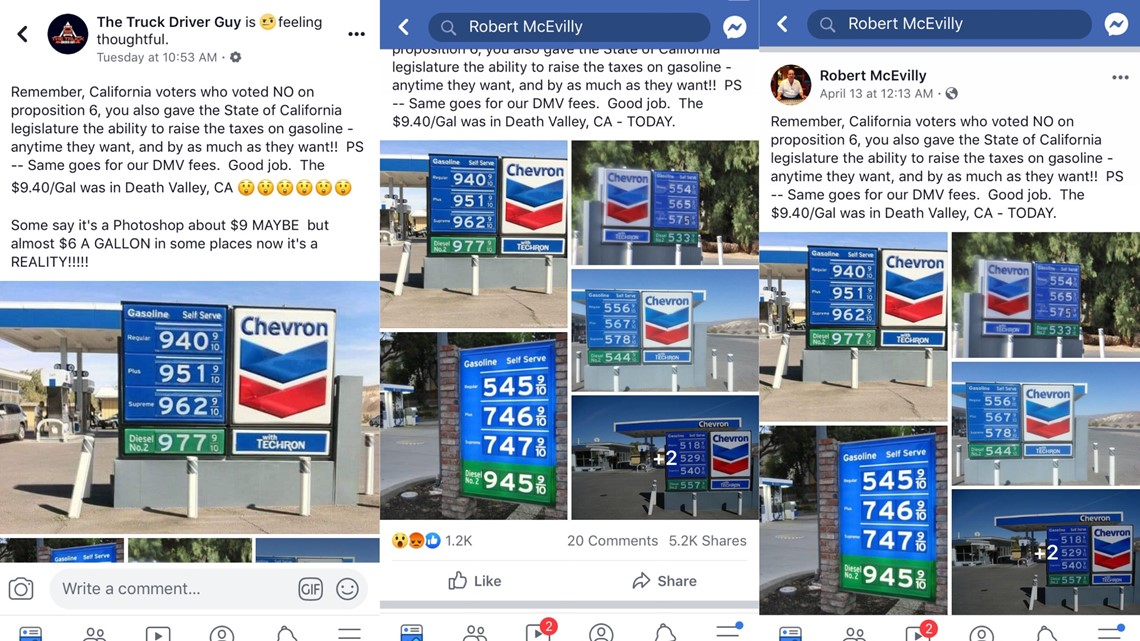 VERIFY: No, gas prices in California have not hit $9 per gallon
