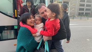 After weeks in quarantine at Travis Air Force Base, family reunites at Sacramento airport