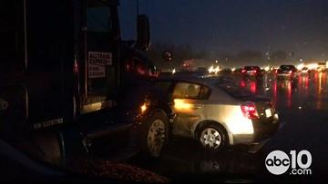 RAW: Rain & crashes back up traffic in Sacramento | February 13, 2019