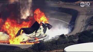 Footage of two tanks burning at refinery fire in Contra Costa County in the East Bay