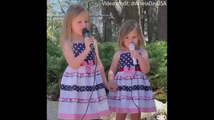 Amelia and Adeline sing God Bless America