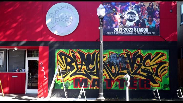 Black Lives Matter mural on Sacramento theater vandalized