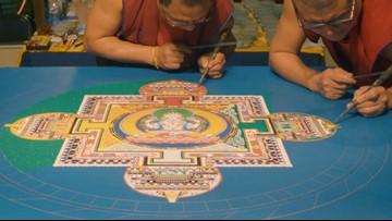 Tibetan monks create and destroy incredible work of art | Bartell's Backroads