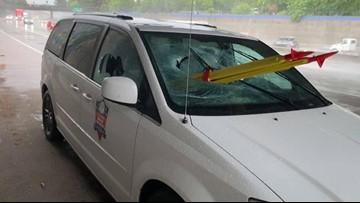 Caltrans tripod stolen, thrown through moving vehicle's windshield