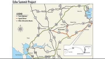 Caltrans considers complete closure of Hwy. 50 over Echo ... on modot traffic map, txdot traffic map, san francisco traffic map, faa traffic map, ohio dot traffic map, seattle traffic map, wsdot traffic map,
