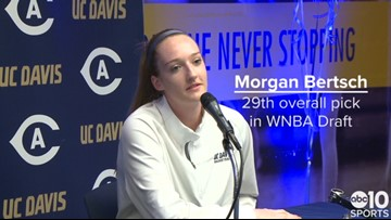 UC Davis basketball star Morgan Bertsch reacts to being selected in WNBA Draft