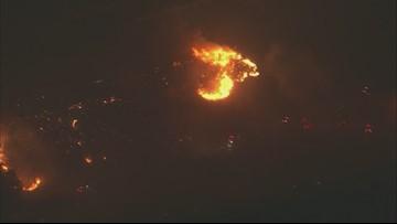 Saddleridge Fire burns near Sylmar, Granada Hills and Porter Ranch in Southern California   RAW